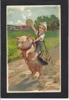 CPA Cochon Pig Position Humaine Humanisé Circulé Gaufré Embossed - Varkens