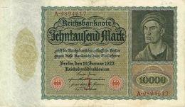 Allemagne Germany Reich Deutsch Banque Billet De Banque Banknote Monnaie Money 10000 Mark Berlin 1922 BE - [ 3] 1918-1933: Weimarrepubliek
