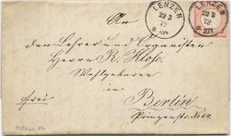 DR Brustschild Mi.19 EF Auf Brief M. K1 Lenzen 1872 - Deutschland