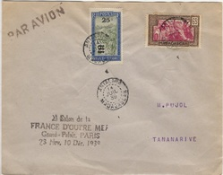 MADAGASCAR 145 173 (o) Lettre Par Avion Salon France Outre Mer 14 Juillet 1939 Cachet Tananarive Antalaha - Madagascar (1889-1960)
