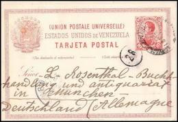 3401/ Venezuela Entier Stationery Carte Postale (postcard) N�8 Pour Munich Allemagne (germany) 1898 - Venezuela