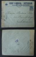 PAYS BAS Rotterdam Vers FRANCE Lettre Oblitération Mécanique CHAMBON Paris XIX Censure 1917 Guerre 1914 1918 WW1 Timbre - Postmark Collection (Covers)