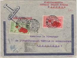 MADAGASCAR Pa 1 Et 6 (o) Lettre Majunga Pondichéry INDE Cachets Tananarive Broken Hill NORTHERN RHODESIA Janvier 1936 - Poste Aérienne