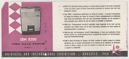 Rare EXPO 58 IBM Carte Perforée Pointeuse Brussels World Fair - Oude Documenten