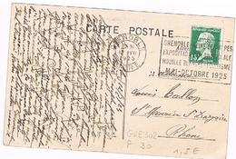 "38 GRENOBLE Flamme Flier  De 1925 ""Expo Houille Blanche Tourisme Mai/Octobre 1925 Sur C.P.     (716) - Marcofilia (sobres)"