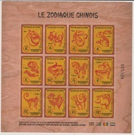 Guinée Guinea 2018 Wooden Holzfurnier Bois Chinese Zodiac Zodiaque Chinois Joint Issue Emission Commune Conjointe - Astrología