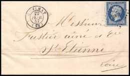 8100 LAC 1857 N 14 Bleu Fonce Napoleon 20c Pc 1061 Cunlhat Puy De Dome St Etienne Loire France Lettre Cover - 1849-1876: Classic Period
