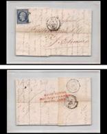8108 LAC Entete Copinot 1857 N 14 Bleu Fonce TB Napoleon 20c Pc St Denis St Etienne Loire France Lettre Cover - 1849-1876: Classic Period