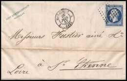 8119 LAC 1857 N 14 Bleu Fonce TB Napoleon 20c Pc 1896 St Etienne Loire France Lettre Cover - 1849-1876: Classic Period