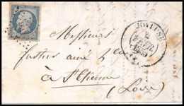 8229 LAC 1855 N 14 Bleu Laiteux TB Napoleon 20c Pc 1593 Joyeuse CAD TYPE 13 Ardeche St Etienne Loire France Lettre Cover - 1849-1876: Période Classique