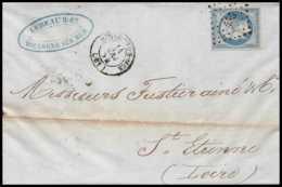 8231 LAC 1854 N 14 Bleu Laiteux TB Napoleon 20c Pc 455 Boulogne Sur Mer Pas-de-Calais St Etienne Loire Lettre - 1849-1876: Période Classique