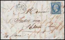 8235 LAC 1860 N 14 Bleu TB Napoleon 20c Pc 1593 Joyeuse Ardeche St Etienne Loire France Lettre Cover - 1849-1876: Période Classique