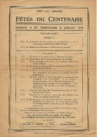 Orp Le Grand- OrpJauche Affiche A4 FETES DU CENTENAIRE 1830 ORP LE GRAND - Orp-Jauche