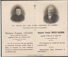 Généalogie-faire-part De Décés-carte-mortuaire : E. CHAIZE - 1932 : F. MOUSSY-SALOMON 1911 : ( à Volets - Décès