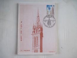 CPSM SAINT POL DE LEON N.D. DE KREISKER CARTE PREMIER JOUR 1975 TBE - Timbres (représentations)