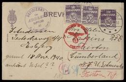 DENMARK. 1940 (20 Nov). Esbjerg - USA / Fainton 10c Violet Stat Card + 2 Adtls, Nazi Censored. - Danemark
