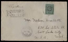 BC - Seychelles. 1924 (15 Dec). Victoria - USA. Reg Env Fkd 75c Green / Black VF On Reverse Anditor / Seychelles / Royal - Unclassified