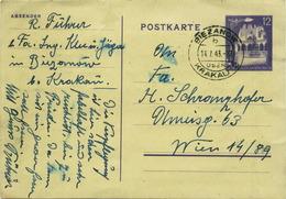 PM460 Alte Postkarte Von Biezanow/Krakau Nach Wien, Gelaufen 1943, Frankiert 12 Pf. Generalgouvernment, Poststempel - Ansichtskarten