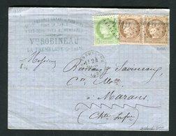 Superbe Lettre De La Tremblade Pour Marans ( 1875 ) - Veuve Robineau - 1849-1876: Période Classique