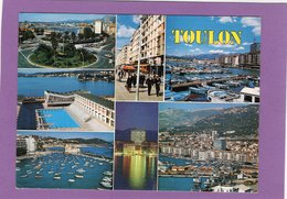 83  SOUVENIR DE TOULON Multivues Carte Façon Toilée Flamme Au Dos - Toulon