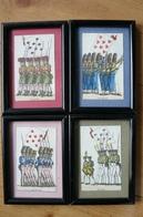 Cartes à Jouer Anciennes (8 De Coeur, Trèfle, Carreau Et Pique) Dans 4 Cadres Numérotés - Voir Description - Old Paper