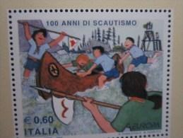 Italia / Italy / Italie -2007 BF 44 EUROPA CENT. SCAUTISMO DOPPIA STAMPA DEL NERO -PUNTA ALBERI- - Abarten Und Kuriositäten