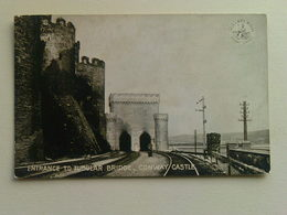 Black And White  Postcard -  Entrance To Tubular Bridge, Conway Castle - Wales