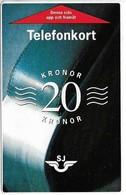Sweden - SJ (Train Card) Paper Magnetic, 20Kr, Used - Suède