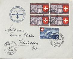 6 Mai 1939 Pro Aero Eroffnung Der Landesausstellung Meldeflug 320 X4 + 322 Schweiz Landesausstellung 39 Zurich Pavillon - Storia Postale
