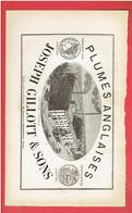 PUBLICITE 1884 PLUMES ANGLAISES JOSEPH GILLOTT USINE VICTORIA A BIRMINGHAM ANGLETERRE - Ouvre-lettres