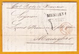 1854 - Lettres Pliées Avec Corresp En Italien De Messina, Sicile Vers Marseille, France - Ligne Maritime Française - Postmark Collection (Covers)