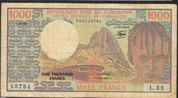 CAMEROUN P16d 1000 FRANCS 1983  #L.38    VF 1 P.h. - Kameroen