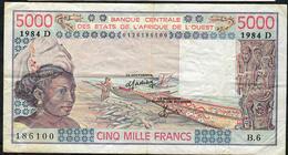 W.A.S. MALI  P407Db 5000 FRANCS 1984 Signature 17  VF NO P.h. - États D'Afrique De L'Ouest