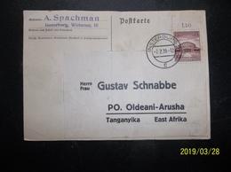 Germany: 1939 Card To Tanganyika, East Afrika (#MP4) - Germany