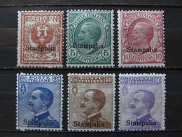 """ITALIA Colonie Egeo Stampalia-1912- """"Italia Sopr."""" 6 Val. MH* (descrizione) - Egeo (Stampalia)"""