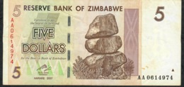 ZIMBABWE P 66 5 DOLLAR 2007 #AA  VF NO P.h. - Zimbabwe