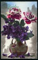 12106 CPA  Sainte Barbe : Vase Avec Violettes Et Rose - Andere