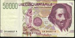 ITALY P116a 50.000 LIRE 1992 VF NO P.h. - [ 2] 1946-… : Repubblica