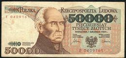 POLAND P153a 50.000 ZLOTYCH 1989 F-VF NO P.h. - Polen