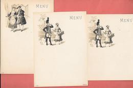 3 Menus Fin XIXe  Lithographiés,vierges  - 2 Personnages Un Militaire Et Un Bourgeois Courtisent Une Jeune Femme - Menus
