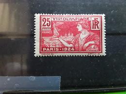 France 1924 , Jeux Olympiques Paris Olympics,  Yvert No 184, 25 C Carmin / Rouge Neuf ** MNH TB - Summer 1924: Paris