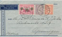 Nederlands Indië - 1934 - 30 Cent Op 40 Cent Luchtpostzegel + 12,5 Cent Op LP-cover Van LB KLATEN/1 Naar Groningen - Nederlands-Indië