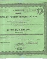 Action De Jouissance Mines Produits Chimiques Du Jura Grozon Sel Michelet Et Compagnie 1853 N°2452 RARE ! - Mines