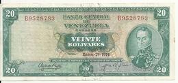 VENEZUELA 20 BOLIVARES 1974 VF P 46 E - Venezuela