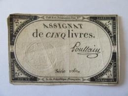 France - Assignat De 5 Livres Série 3088 - Signature Poullain - Vers 1792 - Assignats