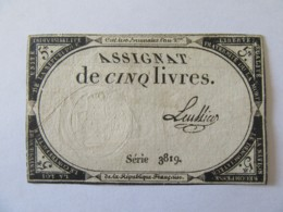 France - Assignat De 5 Livres Série 3819 - Signature Leullier - Vers 1792 - Assignats