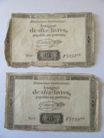 France - 2 Assignats De 10 Livres Série 13199 Et 13251 - Signature Taisaud - Vers 1792 - Assignats
