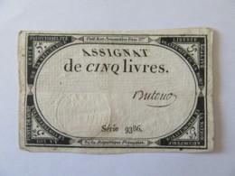 France - Assignat De 5 Livres - Série 9386 - Signature Dutour - Vers 1792 - Assignats