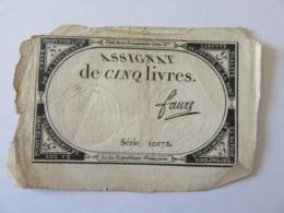 France - Assignat De 5 Livres - Série 10172 - Signature Faure - Vers 1792 - Assignats