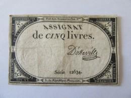France - Assignat De 5 Livres - Série 12634 - Signature D'Osseville - Vers 1792 - Assignats
